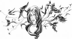 bird girl file cdr and dxf free vector download for laser engraving machines