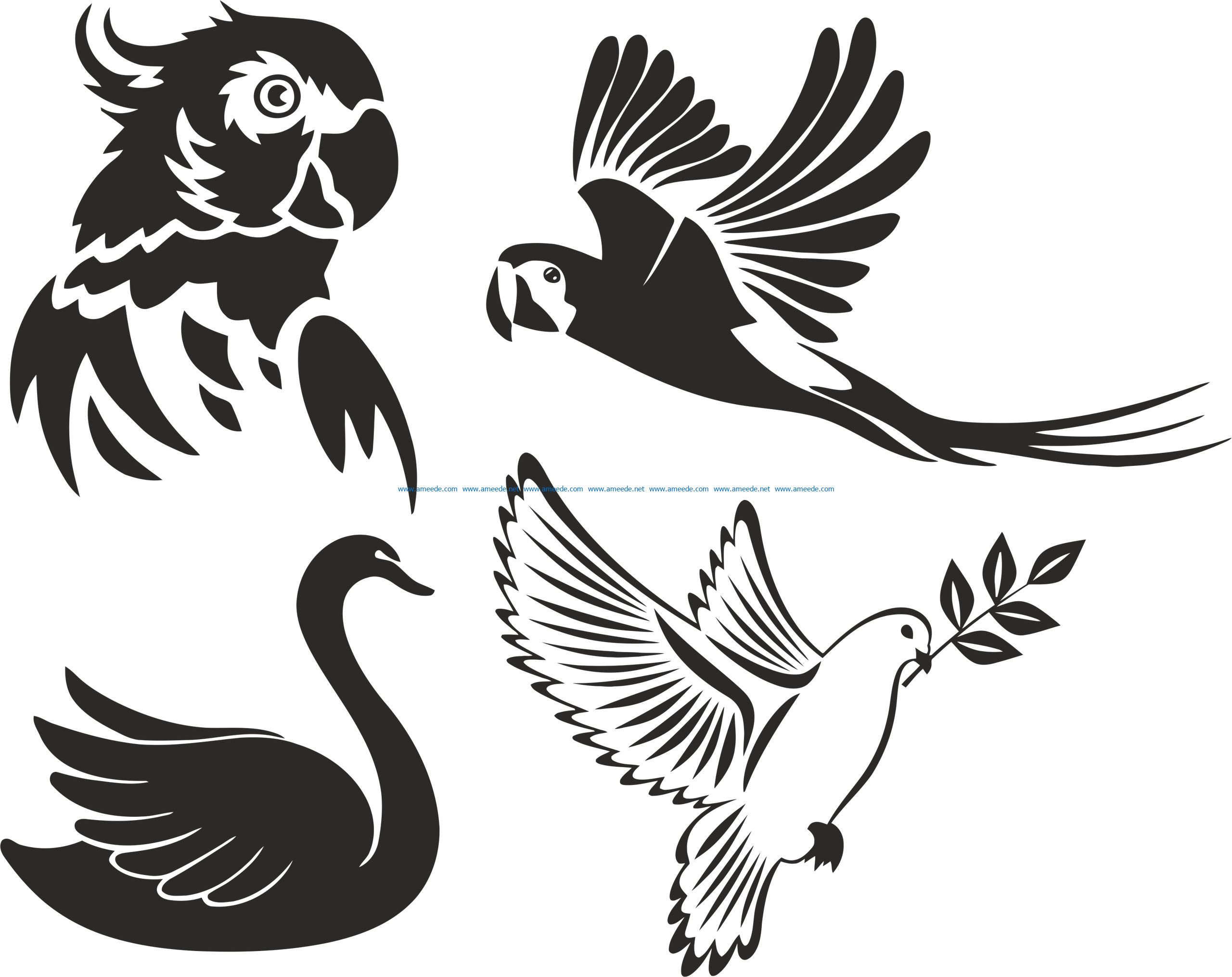 birds stencils file cdr and dxf free vector download for print or laser engraving machines