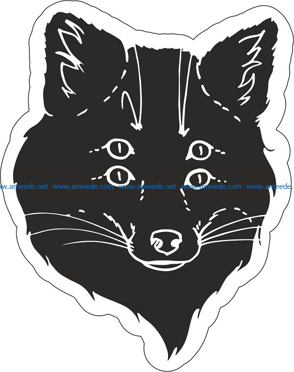 black fox sticker file cdr and dxf free vector download for print or laser engraving machines