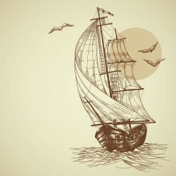 boat and sea file cdr and dxf free vector download for print or laser engraving machines
