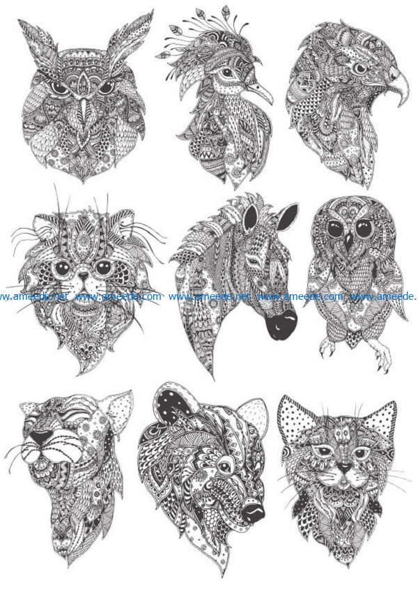 boho amimal file cdr and dxf free vector download for print or laser engraving machines