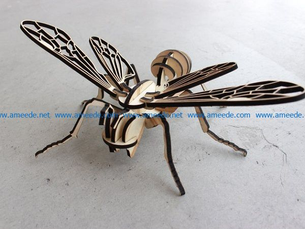 cardboard bee file cdr and dxf free vector download for Laser cut