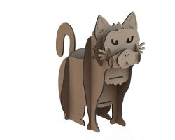 cat with wooden puzzle pieces file cdr and dxf free vector download for Laser cut