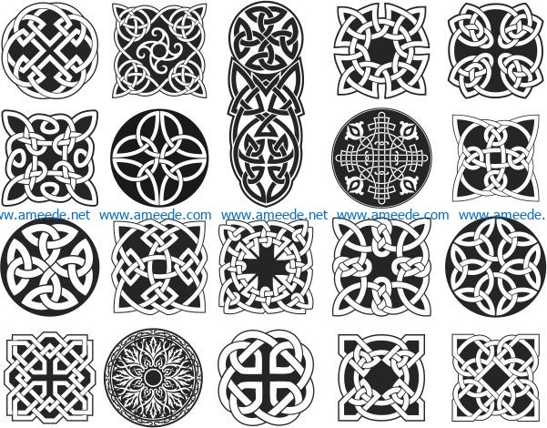 celtic ornament set file cdr and dxf free vector download for Laser cut CNC