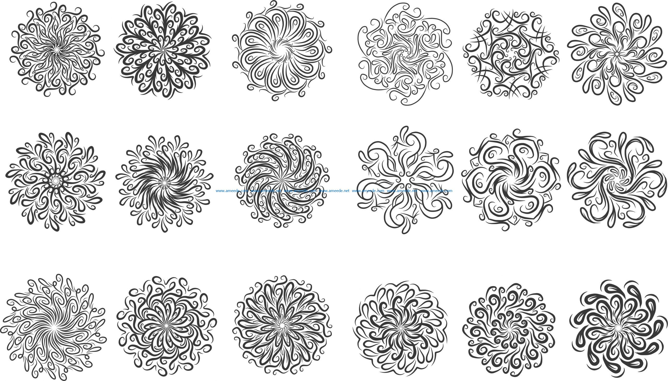 circular ornament set file cdr and dxf free vector download for Laser cut CNC