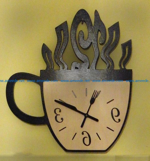clock coffee cup file cdr and dxf free vector download for Laser cut