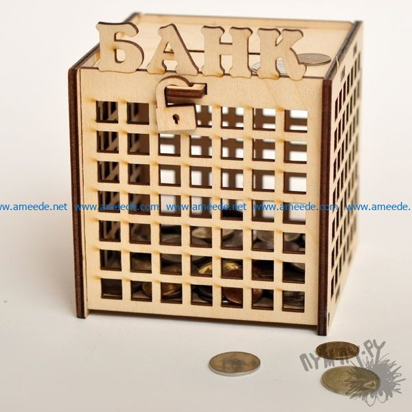 coin box file cdr and dxf free vector download for Laser cut