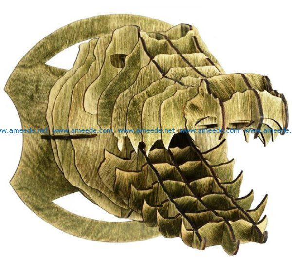 crocodile head file cdr and dxf free vector download for Laser cut CNC