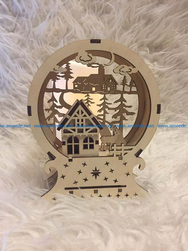 deer and house file cdr and dxf free vector download for Laser cut