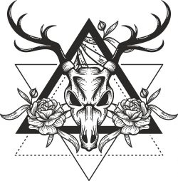 deer print hipster file cdr and dxf free vector download for print or laser engraving machines