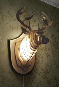 deer wall sconce file cdr and dxf free vector download for Laser cut