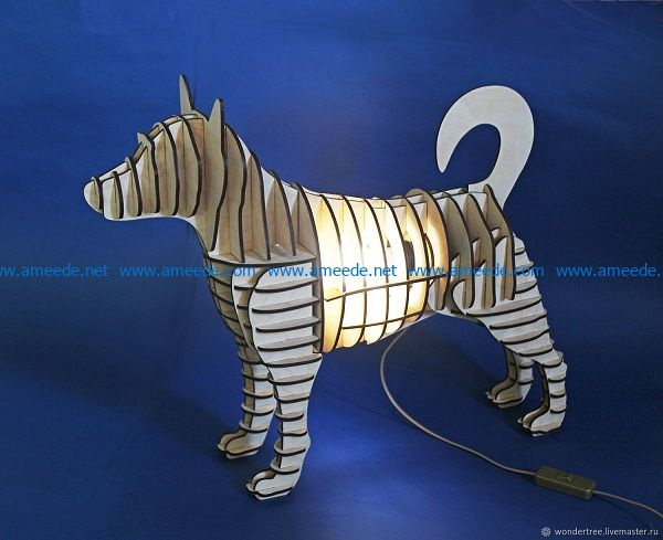 dog-shaped night light file cdr and dxf free vector download for Laser cut