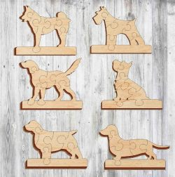 doggie puzzle file cdr and dxf free vector download for Laser cut