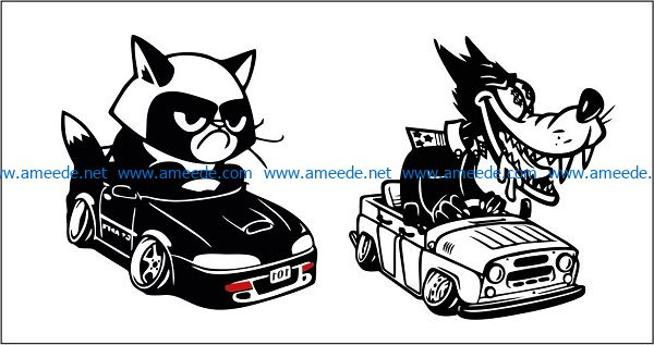 dogs and cats drive cars file cdr and dxf free vector download for print or laser engraving machines