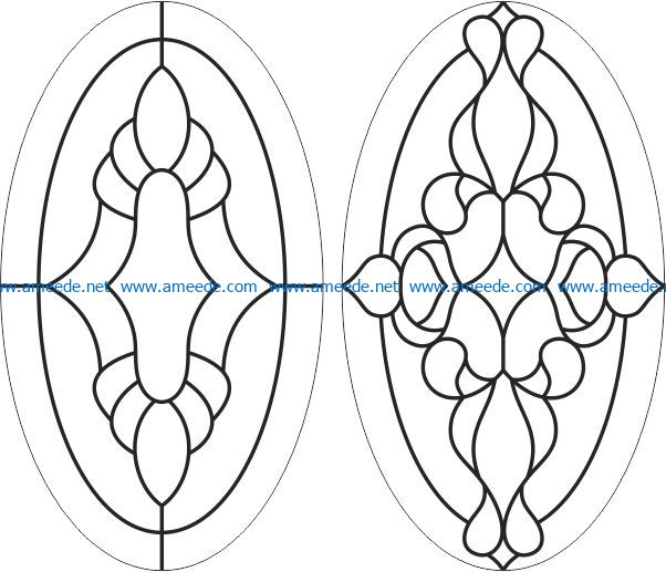elliptical glass window template file cdr and dxf free vector download for laser engraving machines