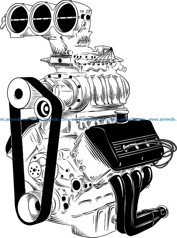 engine sketch vector file cdr and dxf free vector download for print or laser engraving machines