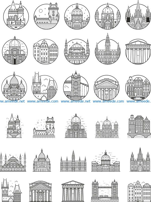 europe city outlined file cdr and dxf free vector download for print or laser engraving machines