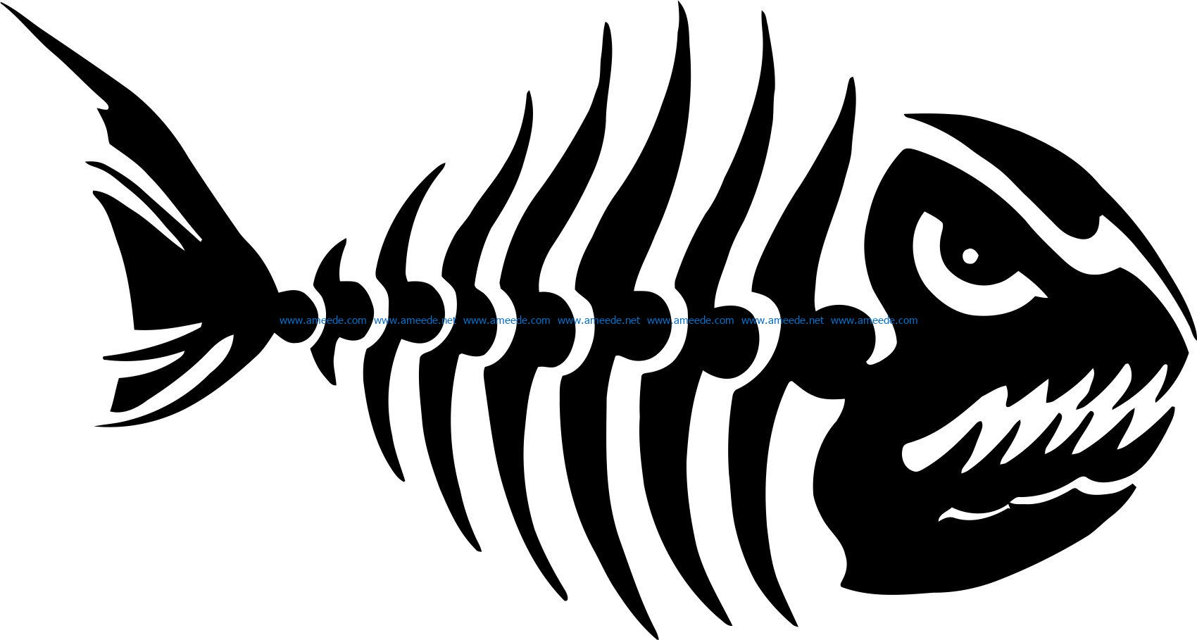 fish bones decal by etsy file cdr and dxf free vector download for print or laser engraving machines