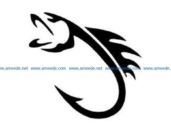 fish hook file cdr and dxf free vector download for print or laser engraving machines