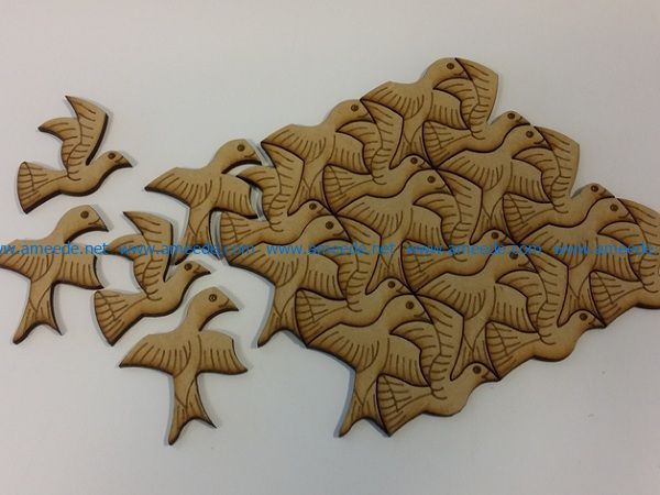 flock of birds file cdr and dxf free vector download for Laser cut
