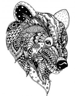 floral bear file cdr and dxf free vector download for print or laser engraving machines