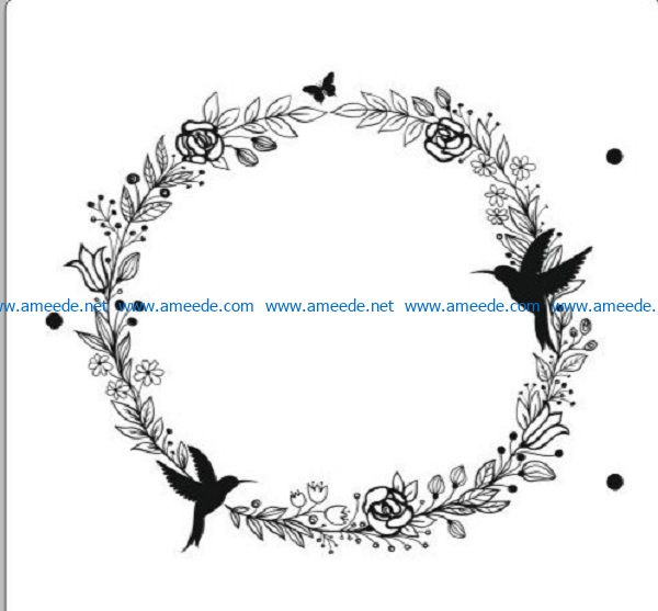 flower crown file cdr and dxf free vector download for print or laser engraving machines