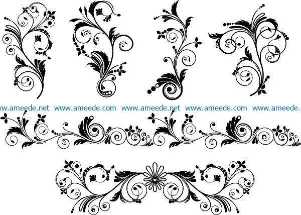 flowers with leaves file cdr and dxf free vector download for print or laser engraving machines