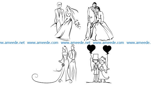 get married file cdr and dxf free vector download for print or laser engraving machines