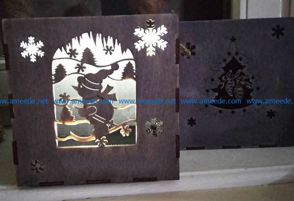 gift box snowman file cdr and dxf free vector download for Laser cut