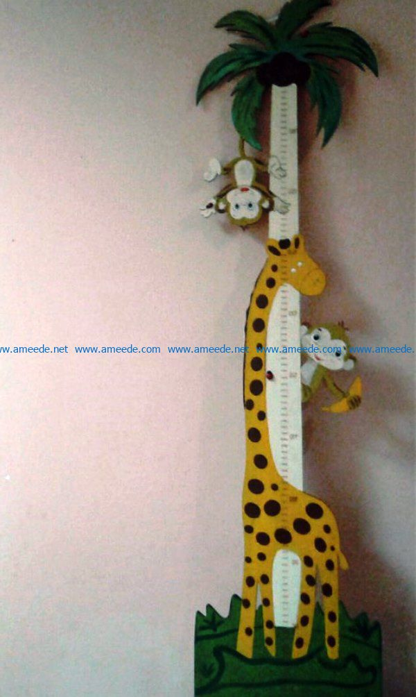 giraffe and monkey height ruler file cdr and dxf free vector download for Laser cut