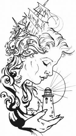 girl with a lighthouse file cdr and dxf free vector download for print or laser engraving machines