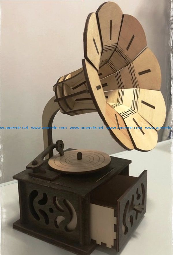 gramophone file cdr and dxf free vector download for Laser cut