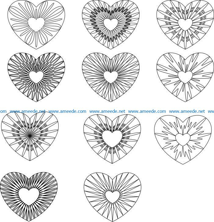 guilloche hearts file cdr and dxf free vector download for print or laser engraving machines