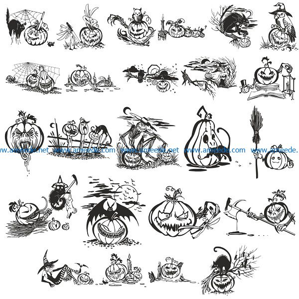 halloween vector file cdr and dxf free vector download for print or laser engraving machines
