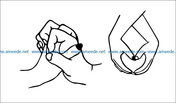 hand file cdr and dxf free vector download for print or laser engraving machines