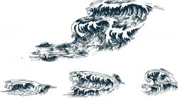 handdrawn waves file cdr and dxf free vector download for print or laser engraving machines