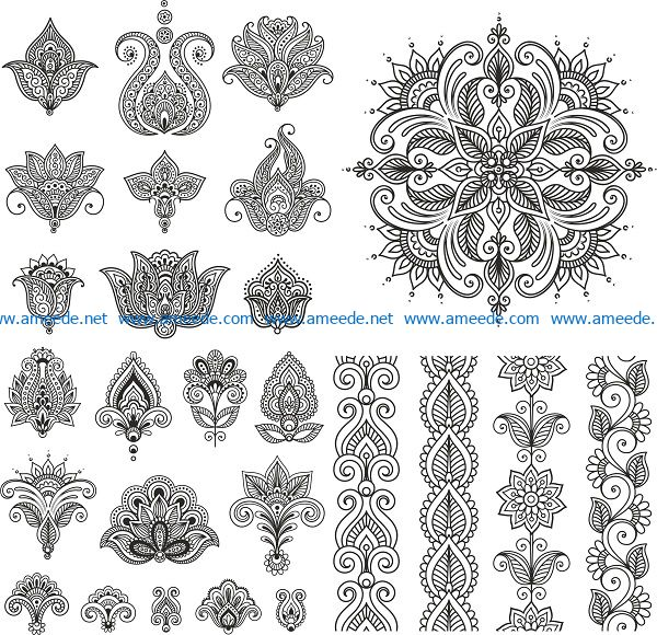 henna vector set file cdr and dxf free vector download for print or laser engraving machines
