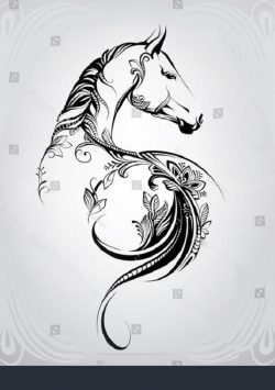 horse flower file cdr and dxf free vector download for print or laser engraving machines