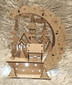 house in pine forest light file cdr and dxf free vector download for Laser cut