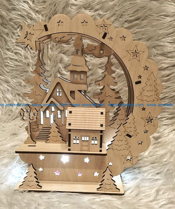 house in pine forest file cdr and dxf free vector download for Laser cut