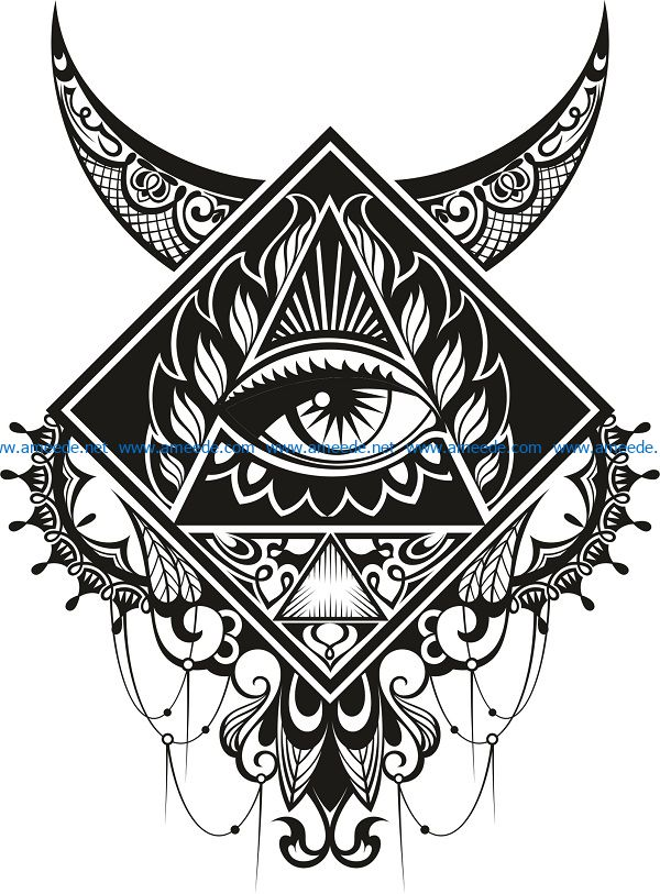 illuminati eye design file cdr and dxf free vector download for print or laser engraving machines