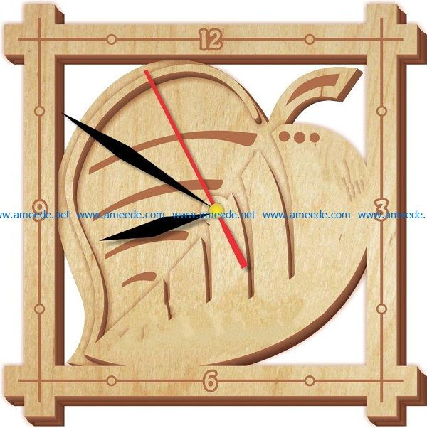 leaf clock file cdr and dxf free vector download for Laser cut