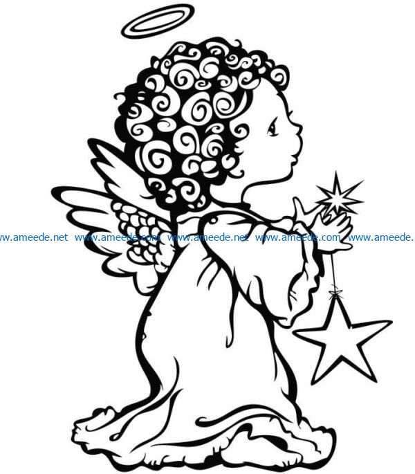 little angel file cdr and dxf free vector download for laser engraving machines