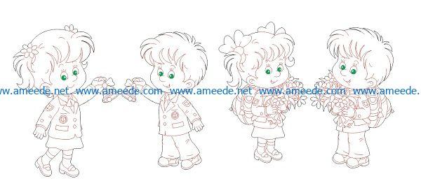 little girl boy file cdr and dxf free vector download for Laser cut