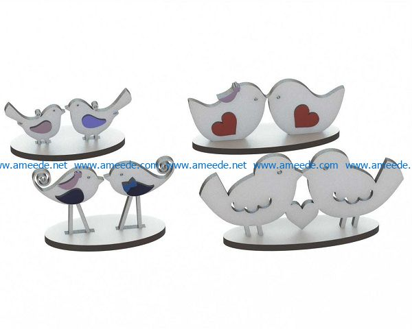 love birds file cdr and dxf free vector download for Laser cut