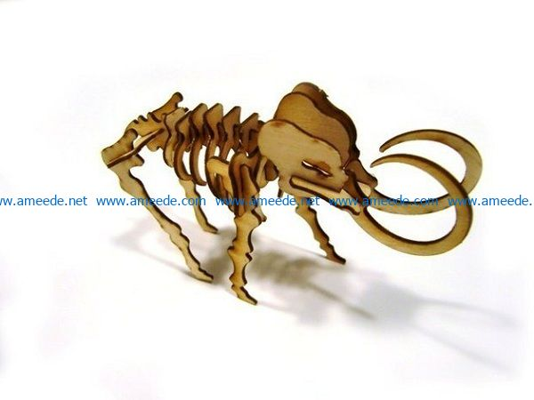 mammoth bone with paper file cdr and dxf free vector download for Laser cut