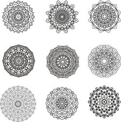 mandala design set file cdr and dxf free vector download for print or laser engraving machines