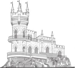 mountain castle file cdr and dxf free vector download for print or laser engraving machines