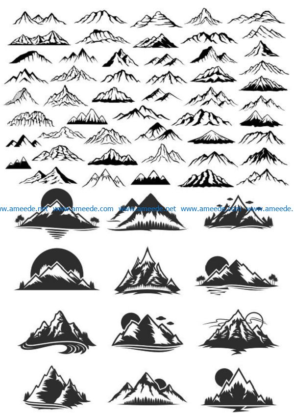 mountains file cdr and dxf free vector download for print or laser engraving machines
