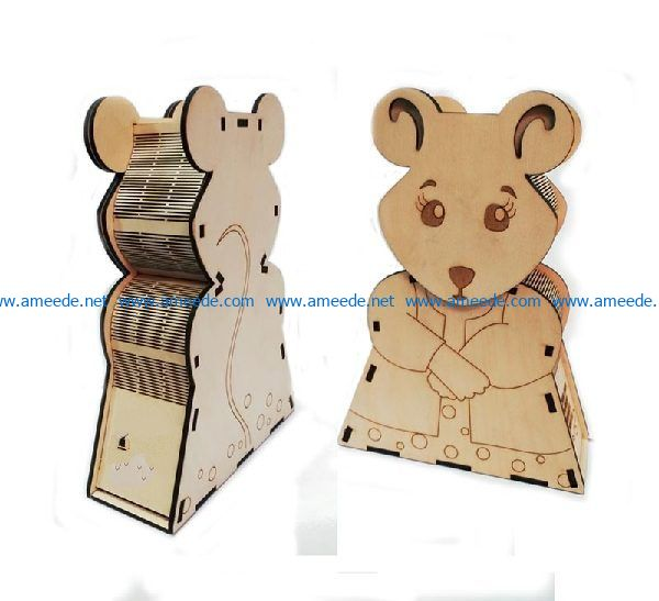 mouse-shaped box file cdr and dxf free vector download for Laser cut